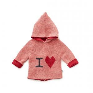 Oeuf Baby Clothes - K12417151606 - Pull à Capuche rose I love en Alpaga 6M (364738)