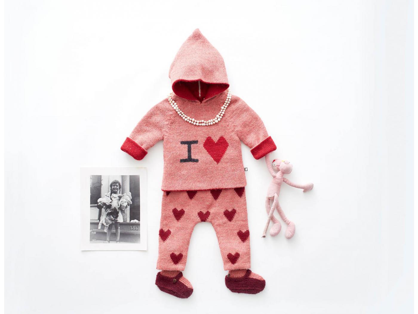 Oeuf Baby Clothes Pull 224 Capuche Rose I Love En Alpaga 6m