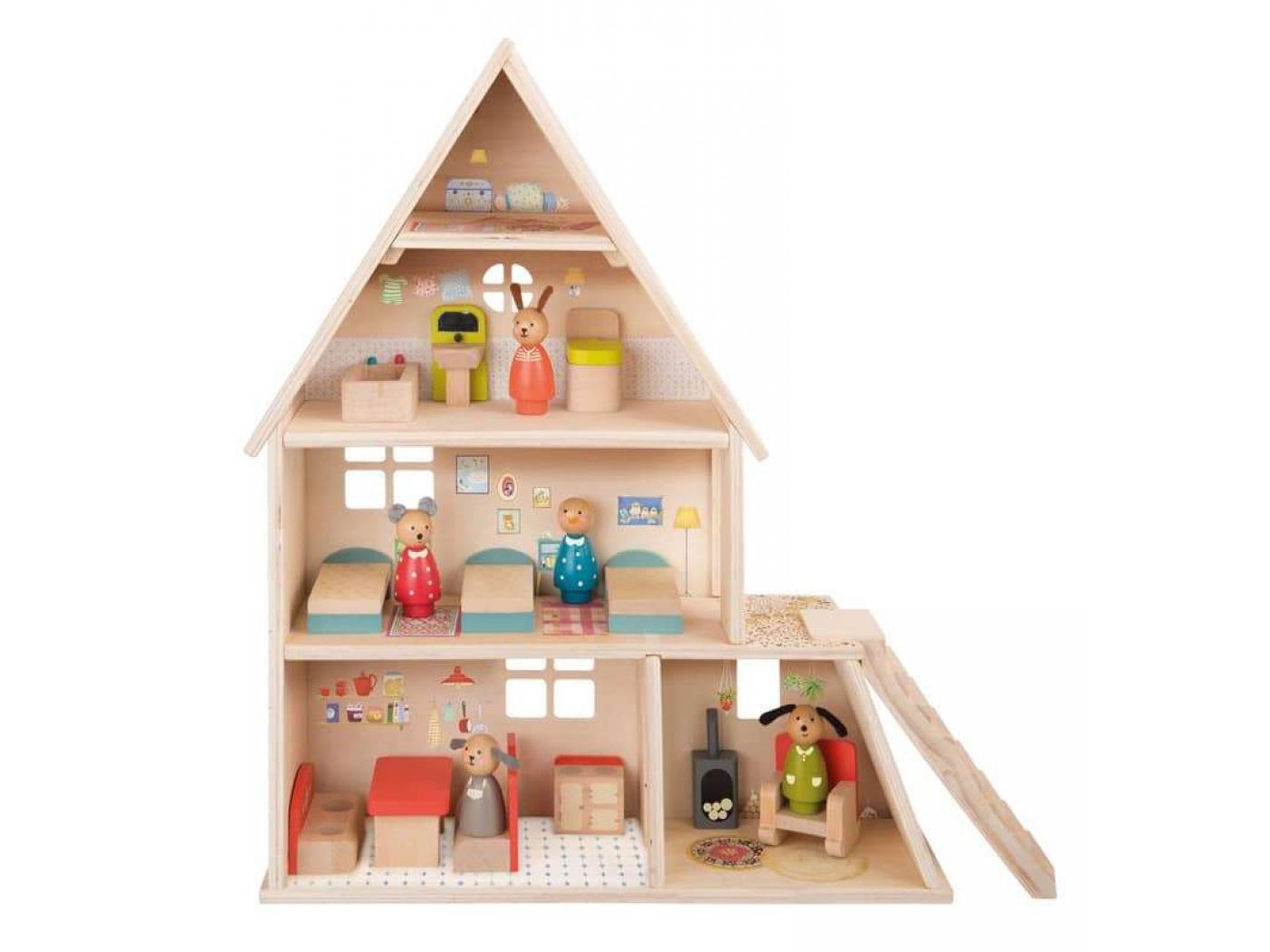moulin roty maison de poup e avec mobilier. Black Bedroom Furniture Sets. Home Design Ideas