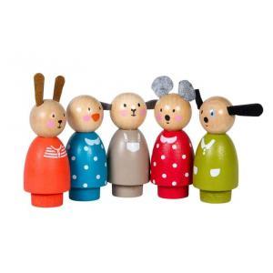 Moulin Roty - 632421 - Set de 5 personnages en bois La grande famille (367124)