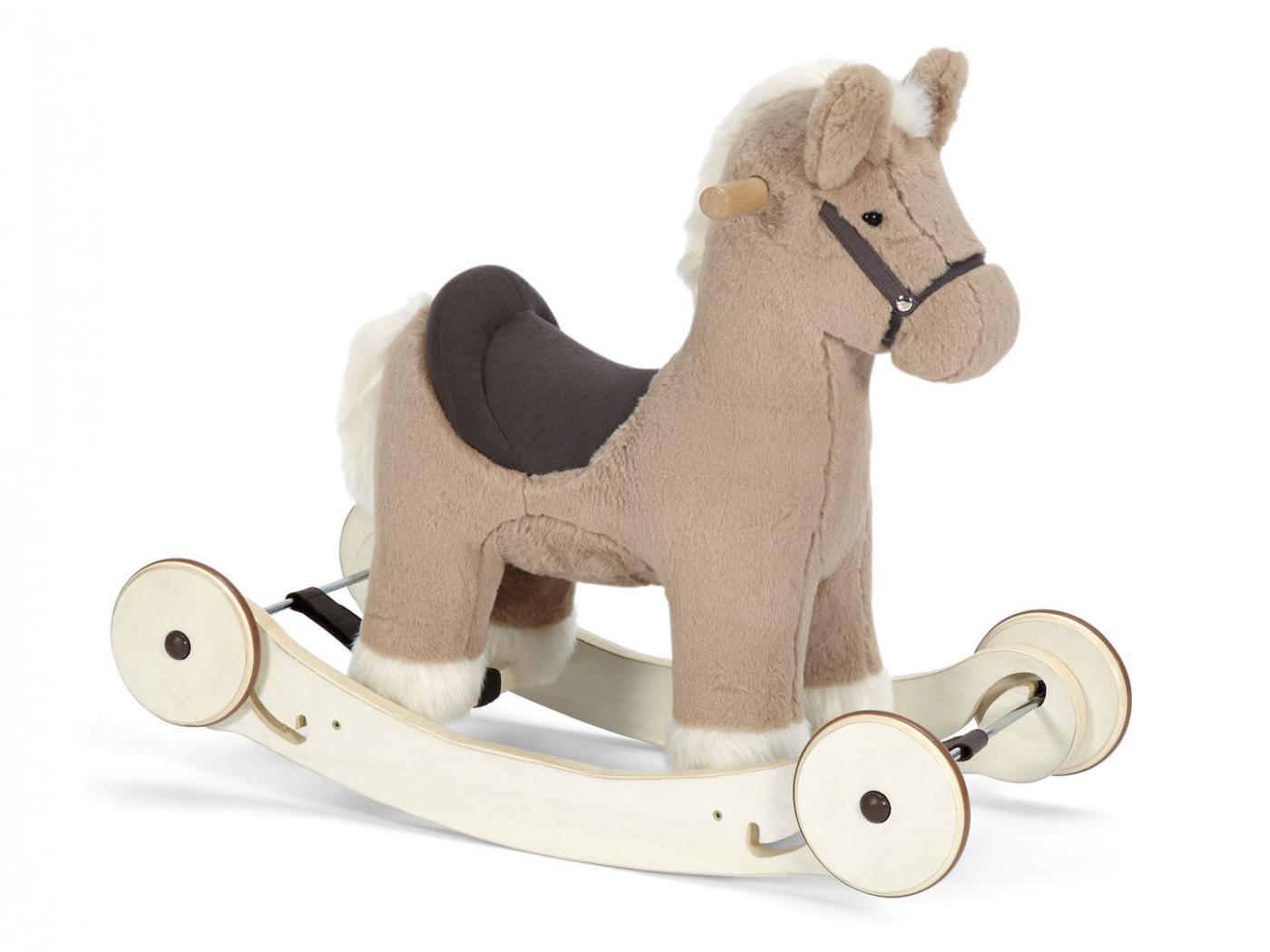 mamas and papas animal bascule avec roulettes mocha le poney partir de 12 mois. Black Bedroom Furniture Sets. Home Design Ideas