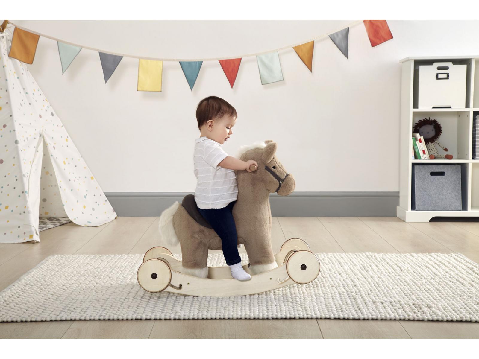 mamas and papas animal bascule avec roulettes mocha. Black Bedroom Furniture Sets. Home Design Ideas