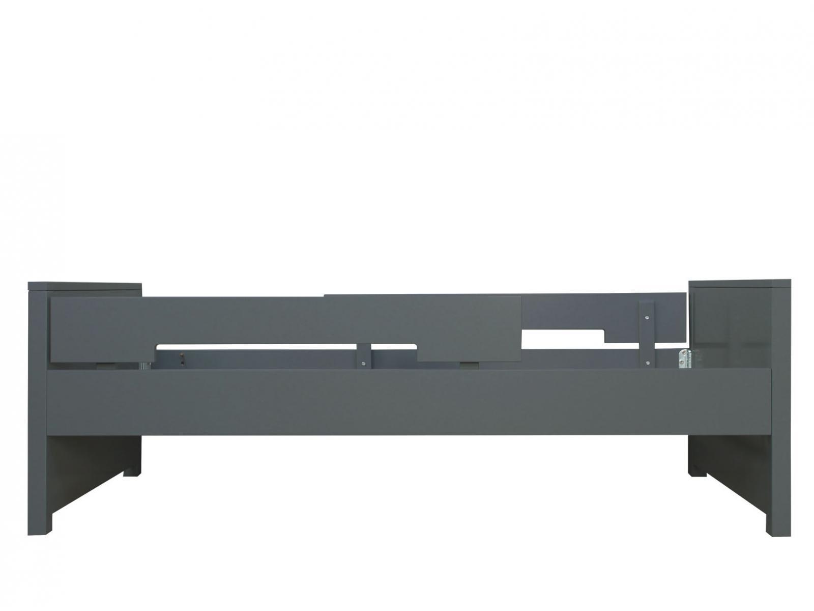 bopita lit 90x200 jonne gris profond incl 2 barres de protection. Black Bedroom Furniture Sets. Home Design Ideas