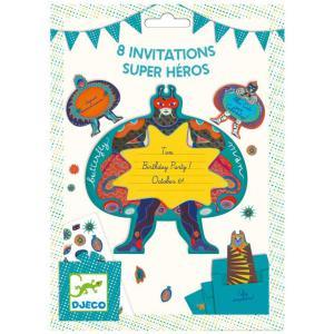 Djeco - DJ04785 - Fêtes - Anniversaires -  Cartes d'invitation Super héros (372680)