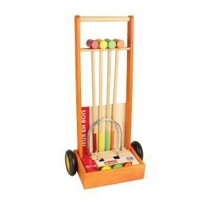 Jeujura - 8602 - Jeu de croquet en bois - 4 joueurs - chariot en bois (375418)