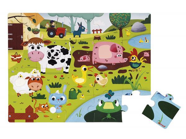 Puzzle tactile 'les animaux de la ferme' - 20 pièces