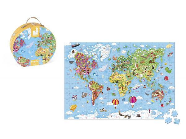 Valisette ronde - puzzle géant carte du monde - 300 pièces