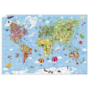Janod - J02775 - Valisette ronde - puzzle géant carte du monde - 300 pièces (376036)