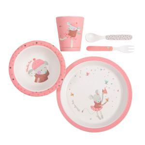 Moulin Roty - 665232 - Set vaisselle bambou rose Les jolis trop beaux (377540)