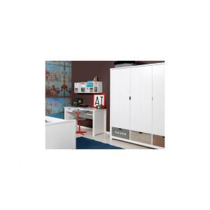 Bopita - 15610734 - Armoire 3 portes BASIC WOOD banc cérusé-white wash (excl. 3 tiroirs 135107xx) (379386)