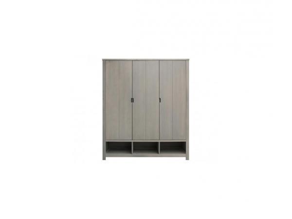 Armoire 3 portes basic wood gris cérusé-gravel wash (excl. 3 tiroirs 135107xx)