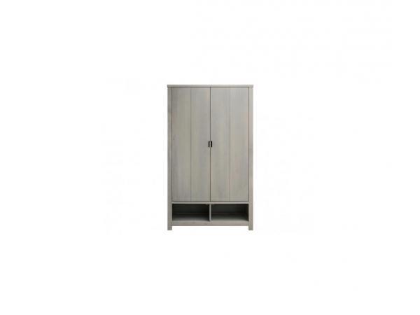 Armoire 2 portes xl basic wood gris cérusé-gravel wash (excl. 2 tiroirs 135107xx)