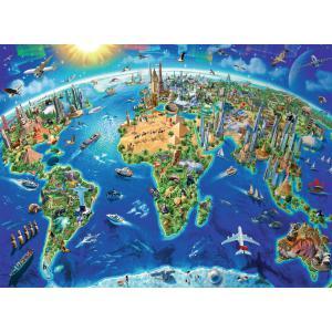 Ravensburger - 13227 - Puzzle 300 pièces XXL - Carte des monuments du monde (379900)