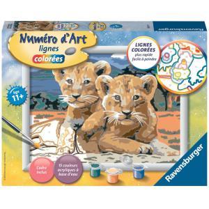 Ravensburger - 28657 - Numéro d'Art moyen format lignes colorées - Jeu créatif - Petits lionceaux (380100)