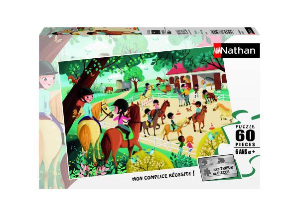 Puzzle 60 pièces - nathan - bienvenue au centre équestre