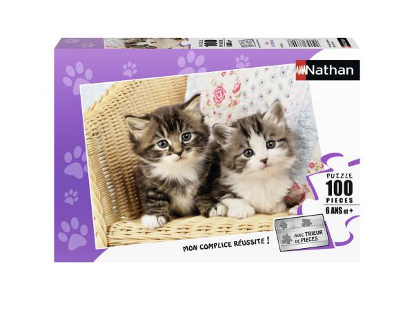 Puzzle 100 pièces - nathan - duo de chatons
