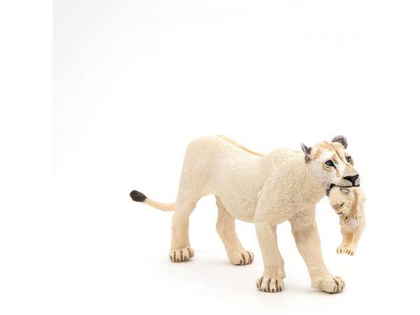 Figurine lionne blanche avec lionceau