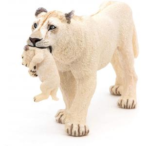 Papo - 50203 - Lionne blanche avec lionceau - Dim. 3,5 cm x 14,5 cm x 6,5 cm (380452)