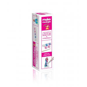 Mako moulages - 39026 - kit recharge 5 pots de peintures princesses +1 pinceau sur broche (381540)