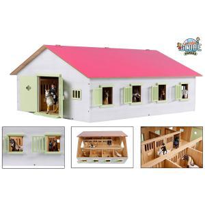 Kids Globe Farmer - 610189 - Kids Globe paardenstal met 7 boxen 1:24 72,5x60x37,5cm roze (382740)