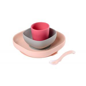 Beaba - 913427 - Set vaisselle silicone 4 pièces pink (384134)