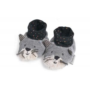 Moulin Roty - 666010 - Chaussons chat gris clair Fernand Les Moustaches (386138)