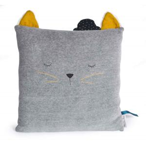 Moulin Roty - 666130 - Coussin chat gris clair Les Moustaches (386196)
