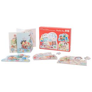 Moulin Roty - 632627 - Ensemble de 3 puzzles personnages (3x12 pièces) La Grande famille (386266)