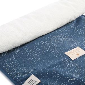 Nobodinoz - N097718 - Matelas à langer Nomad 60x35 cm en coton organique  gold bubble - night blue (387052)