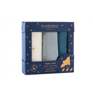 Nobodinoz - N104676 - Boîte de 3 lange Baby Love 70x70 cm pack blue (387128)