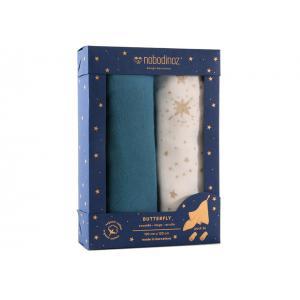 Nobodinoz - N106762 - Lot de 2 langes Butterfly double gaze de coton 100x120 cm pack blue (387136)