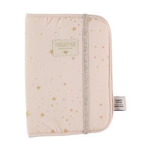 Nobodinoz - N098777 - Protège carnet de santé Poème 24x18 cm gold stella - dream pink (387466)