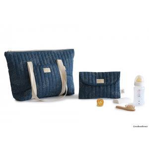 Nobodinoz - N105291 - Sac de maternité Paris en coton organique 34x50x12 cm gold bubble - night blue (387494)