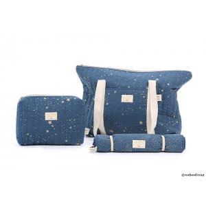 Nobodinoz - N105314 - Sac de maternité Paris en coton organique 34x50x12 cm gold stella - night blue (387510)