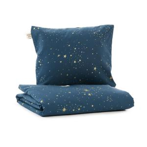 Nobodinoz - N102504 - Housse de couette + taie Himalaya (100x148 cm - 40x45cm)  gold stella - night blue (388084)