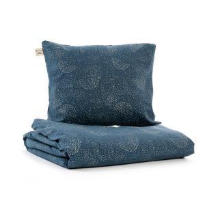 Nobodinoz - N102634 - Housse de couette + taie Himalaya (148x200 cm - 60x60cm)  gold bubble - night blue (388098)