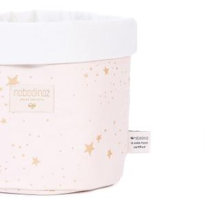 Nobodinoz - N101392 - Panier Panda M 24x20 cm en coton imprimé gold stella - dream pink (389004)