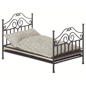 Maileg - 11-8108-00 - Vintage bed, Micro - Anthracite (390960)