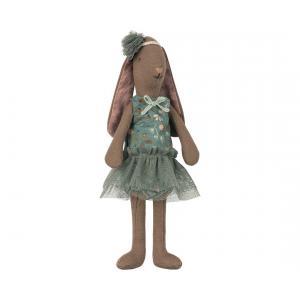 Maileg - 16-8126-01 - Mini brown bunny, Flower suit - Petrol - Taille 22 cm - de 0 à 36 mois (391906)