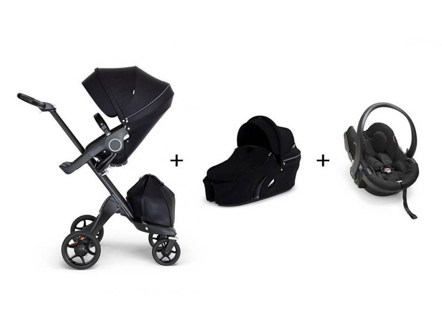 pack poussette stokke xplory v6 noir poign e noire. Black Bedroom Furniture Sets. Home Design Ideas
