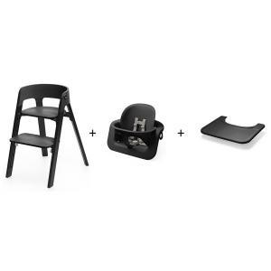 Stokke - BU155 - Chaise STEPS Bois de chêne Noir et tablette (392868)