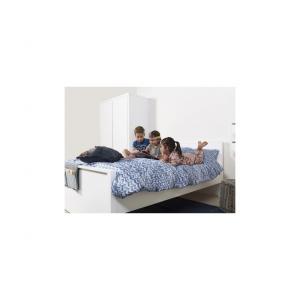 Bopita - 81317611 - Lit BOBBY avec tête de lit haute 140x200 cm blanc (392960)