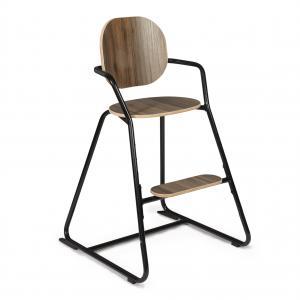 Charlie crane - TIBUTODWBLACK - Chaise haute TIBU Noire, assise noyer (393072)