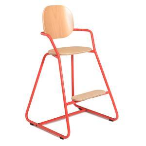 Charlie crane - TIBUTODRED - Chaise haute TIBU Rouge, assise hêtre naturel (393074)