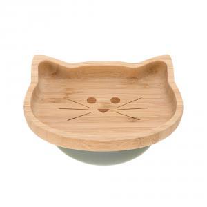 Lassig - 1310028108 - Assiette en bois de bambou Little Chums Chat (394264)