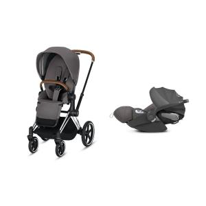 Cybex - BU211 - Poussette Priam 2019 et Cloud Z i-size  Alu-marron Manhattan Grey (398152)
