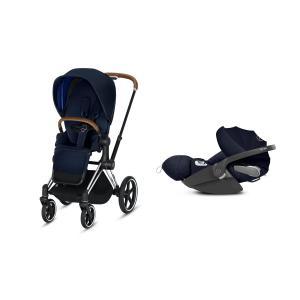 Cybex - BU215 - Poussette Priam 2019 et Cloud Z i-size  Alu-marron Indigo blue (398160)