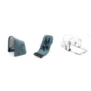 Bugaboo - 180122MS01 - Bugaboo Donkey2 duo fabric set complète TRACK Bleu Petrole (399112)