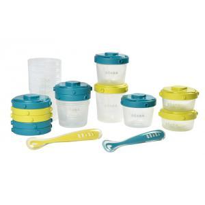 Beaba - 913441 - Pack 1er repas - set portion clip + cuillère 1er âge silicone - néonblue (399462)