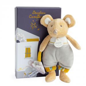 Doudou et compagnie - DC3509 - La petite souris va passer - bulu en pyjama (beige) - taille 19 cm (399720)